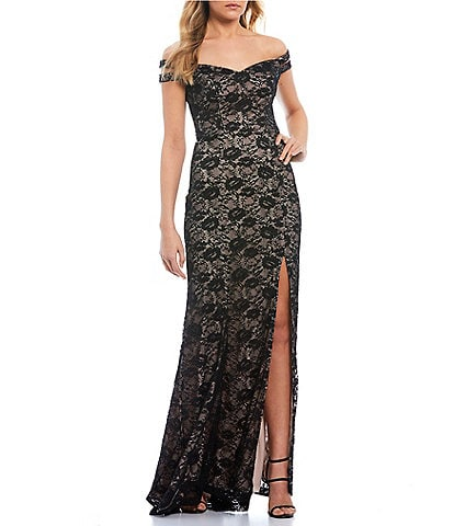 Teeze Me Off-the-Shoulder High Side Slit Two-Toned Lace Long Dress