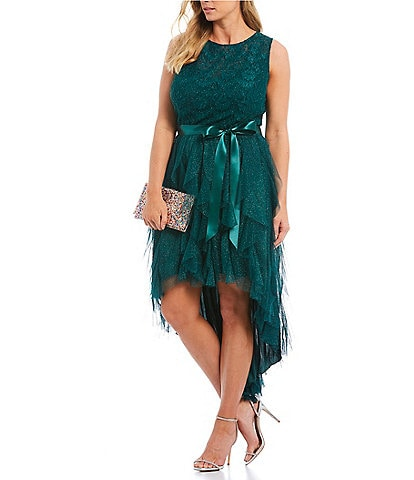Teeze Me Plus Glitter Lace Bodice Corkscrew High-Low Dress