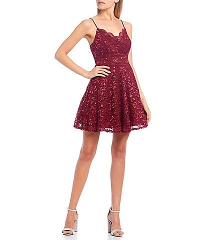 Teeze Me Scalloped V-Neckline Sequin Lace Dress