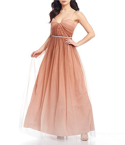 Teeze Me Spaghetti Strap Notch Square-Neck Lace-Up Back Ombre Beaded Waist Mesh Ball Gown