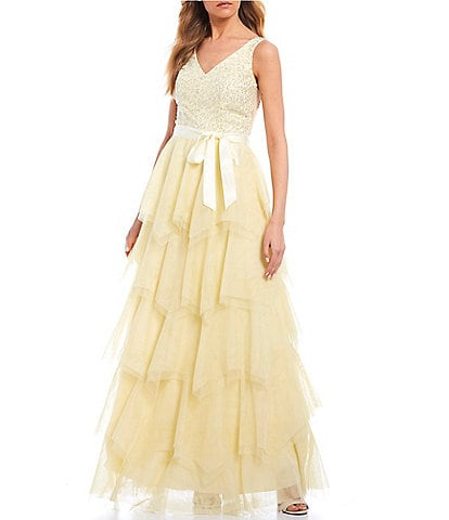 Teeze Me Spaghetti Strap V-Neck Sequin-Embellished Tiered Mesh Skirt Ball Gown