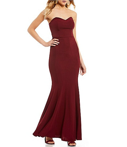 Teeze Me Strapless Seamed Trumpet Dress