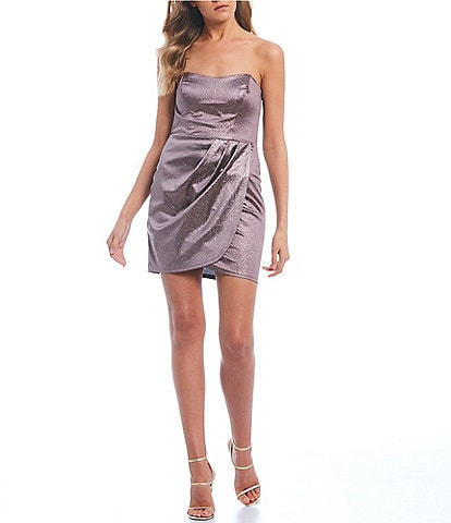 Teeze Me Strapless Shine Fabric Faux-Wrap Dress