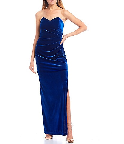 Teeze Me Sweatheart Neck Strapless Velvet Ruched Side Slit Long Dress