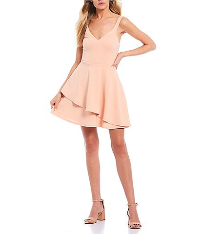 Teeze Me V-Neck Double-Hem Fit & Flare Dress
