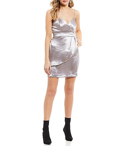 Teeze Me V-Neck Satin Faux-Wrap Dress