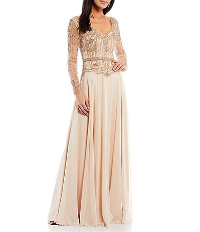 Terani Couture Beaded Bodice Sweetheart Neck Long Sleeve Chiffon Gown