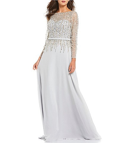 Terani Couture Beaded Bodice V-Back Illusion Neck 3/4 Sleeve A-Line Gown