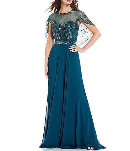 Terani Couture Beaded Capelet Bodice Illusion Crew Neck Chiffon Gown