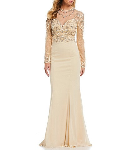 Terani Couture Beaded Illusion Bodice Chiffon Gown