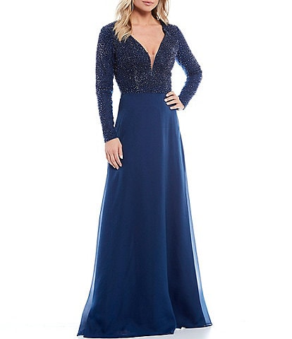 Terani Couture Beaded V-Neck Long Sleeve A-Line Gown