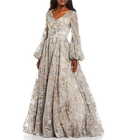 Terani Couture Bishop Long Sleeve Sweetheart V-Neck Lace Ball Gown