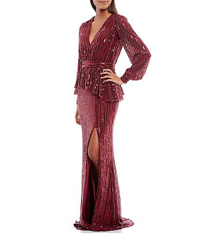 Terani Couture Deep V-Neck Long Sleeve Sequin Peplum Front Slit Gown