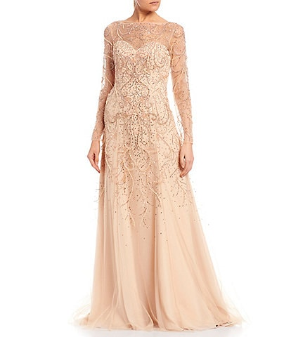 Terani Couture Illusion Bateau Neck Long Sleeve Beaded Chiffon Gown