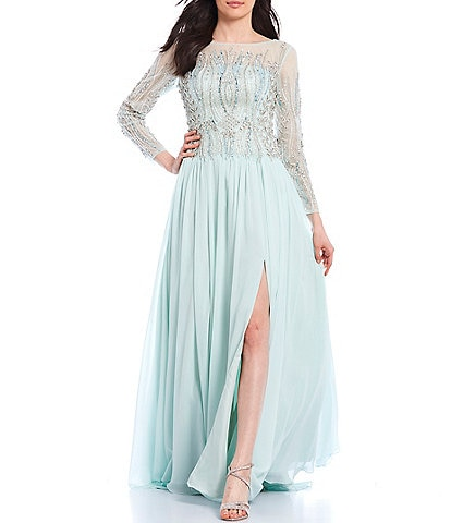 Terani Couture Illusion Neck Beaded Chiffon Gown