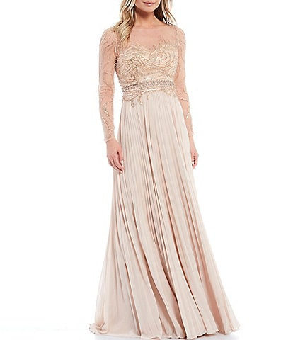 Terani Couture Illusion Neck Beaded Chiffon Pleated A-Line Gown