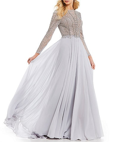 Terani Couture Long Sleeve Beaded Bodice Ball Gown