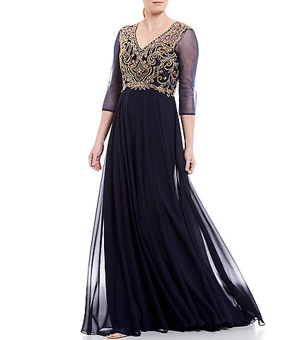 Terani Couture V-Neck 3/4 Illusion Sleeve Beaded Bodice Chiffon Gown