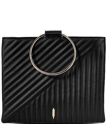 Thacker Le Pouch Ring Handle Quilted Leather Crossbody Bag