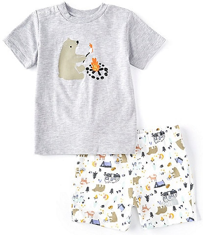 The North Face Baby Boys Newborn-24 Months Short-Sleeve Camping Friends Tee & Allover-Printed Shorts Set