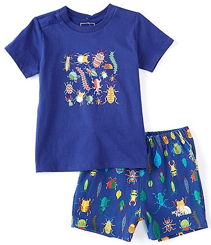 The North Face Baby Boys Newborn-24 Months Short-Sleeve Critter Crawl Graphic Tee & Printed Shorts Set