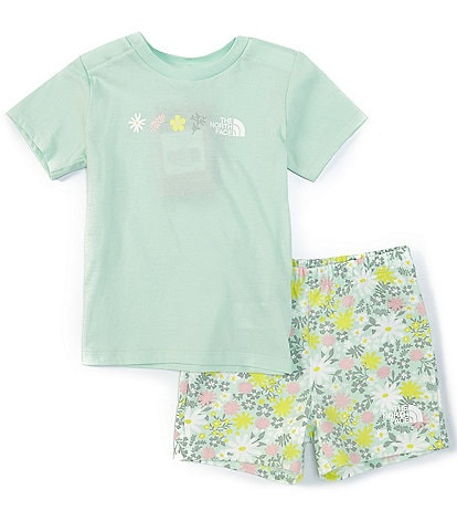The North Face Baby Girls Newborn-24 Months Short-Sleeve Flower Garden Graphic Tee & Printed Shorts Set
