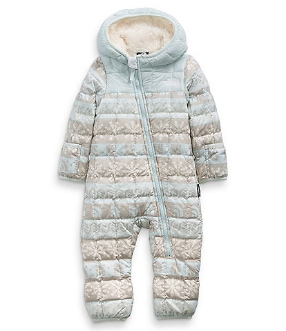 The North Face Baby Girls Newborn-24 Months Snow Ski Quilted Fairisle ThermoBall Eco Bunting Fleece Lined Hooded Puffer Coverall