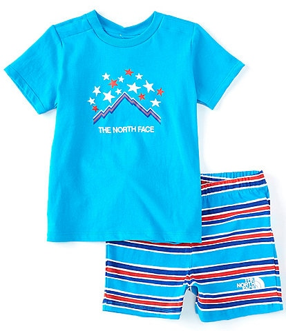 The North Face Baby Newborn-24 Months Short-Sleeve Americana Graphic Tee & Painted Stripe Shorts Set
