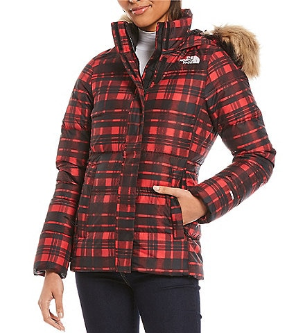 The North Face Gotham Zip Front Plaid Puffer Jacket with Faux Fur Trimmed Hood