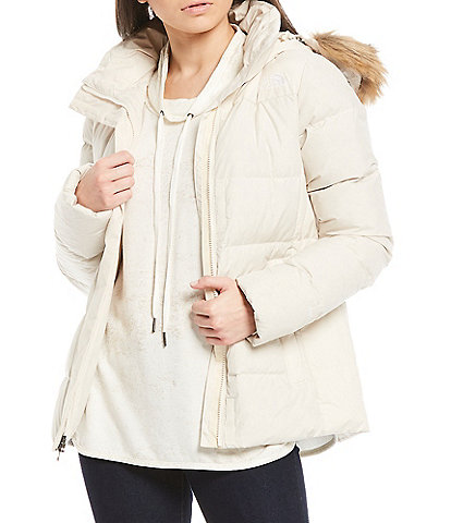 The North Face Gotham Faux Fur Trim Hood Zip Front Puffer Jacket