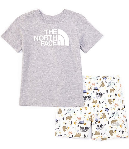 The North Face Little Boys 2T-6T Short-Sleeve Logo Graphic Tee & Camping Friends Shorts Set