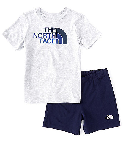 The North Face Little Boys 2T-6T Short-Sleeve Logo Graphic Tee & Shorts Set
