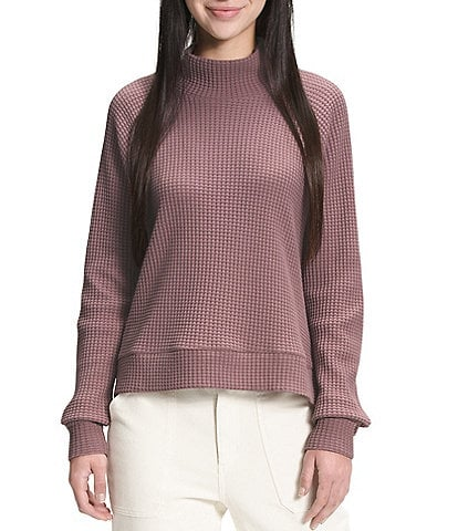 The North Face Long Raglan Sleeve Mock Neck Standard Fit Cotton Pullover