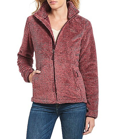 The North Face Osito Striped Mock Neck High-Pile Raschel Zip Front Silken Fleece Jacket