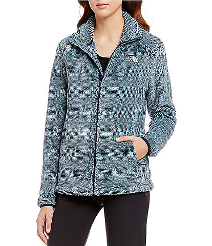 The North Face Osito Striped Mock Neck High-Pile Raschel Zip Front Silken Fleece Jacket