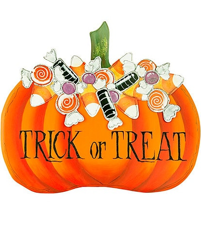 The Round Top Collection Festive Fall Collection Our Trick Treat Candy Pumpkin Metal Sign