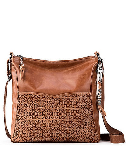 The Sak Lucia Leather Crocheted Crossbody Bag