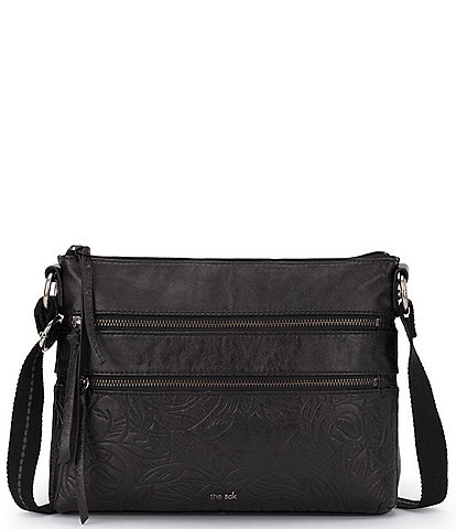 The Sak Reseda Double Zip Top Leather Crossbody Bag