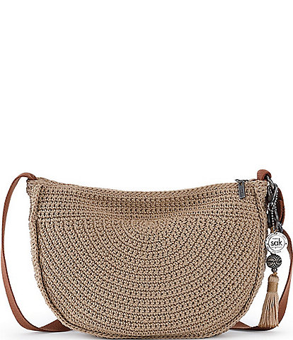 The Sak Ryder Cresent Hand Crochet Zip Top Keychain Crossbody Bag