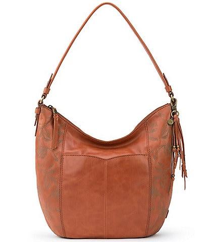 The Sak Sequioa Leather Crocheted Zipper Hobo Bag