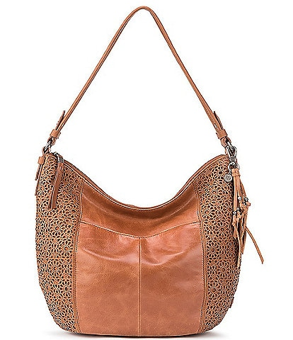 The Sak Sequioa Leather Crocheted Zipper Hobo Bag