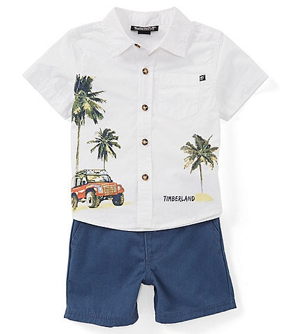 Timberland Baby Boys 12-24 Months Graphic Short Sleeve Button Front Shirt & Twill Shorts Set