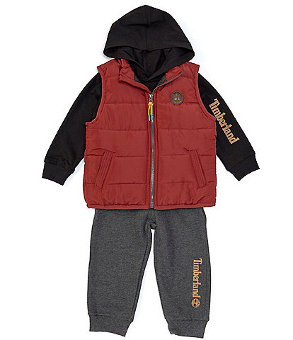 Timberland Baby Boys 12-24 Months Quilted Microfiber Vest, Hoodie & Fleece Jogger Set