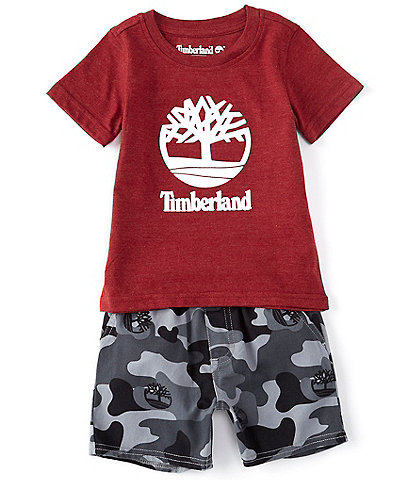 Timberland Baby Boys 12-24 Months Short-Sleeve Graphic Tee & Camo Microsueded Twill Shorts Set