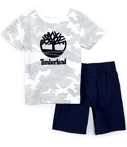 Timberland Baby Boys 12-24 Months Short-Sleeve Logo Camo Tee & Microsueded Twill Shorts Set