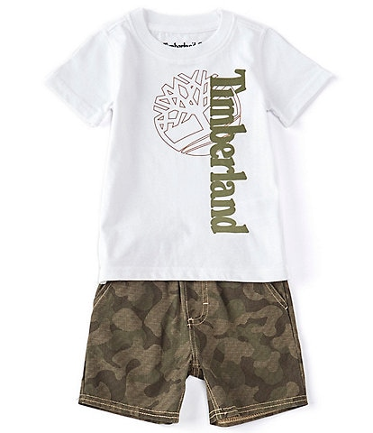 Timberland Baby Boys 12-24 Months Short-Sleeve Mixed Logo Tee & Camo Microsueded Twill Shorts Set