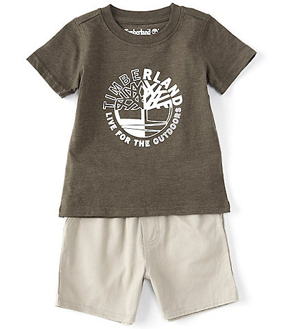 Timberland Baby Boys 12-24 Months Short-Sleeve Quad Graphic Tee & Microsueded Twill Shorts Set