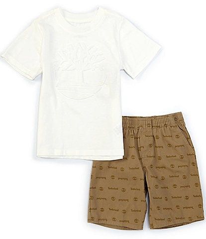 Timberland Baby Boys 12-24 Months Short-Sleeve Shadow-Logo Tee & Printed Microsueded Twill Shorts Set