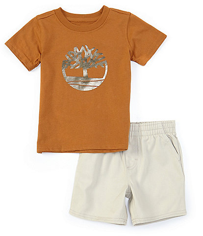 Timberland Baby Boys 12-24 Months Short-Sleeve Tree Graphic Tee & Microsueded Twill Shorts Set