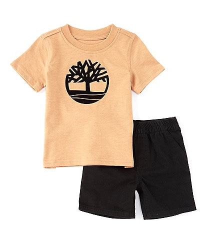 Timberland Baby Boys 12-24 Months Short-Sleeve Tree Logo Tee & Twill Shorts Set